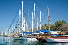 Sailboats in the harbor of Kos, Dodecanese island Greece stock photography