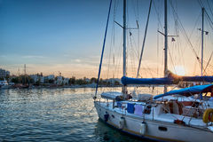 Sailboats in the harbor of Kos, Dodecanese island Stock Image