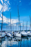 Sailboats at the Harbor in the Late Evening Royalty Free Stock Image