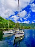 Sailboats in the harbor of Pago Pago stock photography