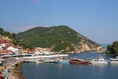 Sailboats in the harbor Parga Greece summer Royalty Free Stock Images