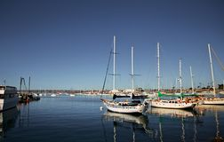 Sailboats in a harbor in San Diego stock image