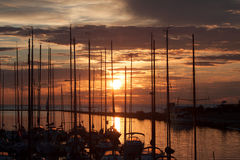 Sailboats in harbor with sunset Royalty Free Stock Photo