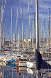 Sailboats in harbour Stock Photo