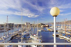 Sailboats in harbour Royalty Free Stock Image