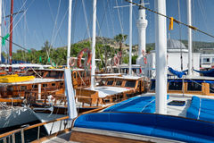 Sailboats in the harbour of Bodrum Stock Images