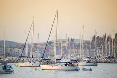 Sailboats in harbour Royalty Free Stock Photography