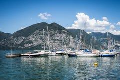 Sailboats at Iseo lake Stock Image