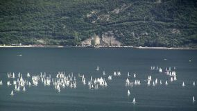 Sailboats on Lake Garda stock footage