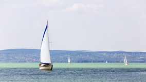 Sailboats on the lake in Hungary. Stock Image