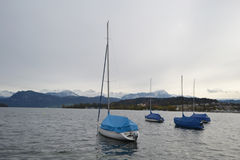Sailboats on the lake in Lucerne Royalty Free Stock Photos