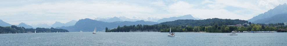 Sailboats on Lake Lucerne Stock Photo