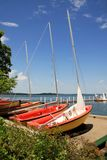 Sailboats on a lake in a sunny summer day Stock Photo
