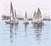 Sailboats on a lake royalty free illustration