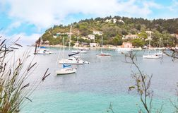 Landscape of Lakka village Paxos island Greece Royalty Free Stock Images