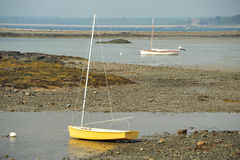 Sailboats laying on rocky beach at low tide Royalty Free Stock Photography