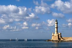 Sailboats and lighthouse Royalty Free Stock Images