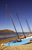 Sailboats Lined up on the Beach Stock Photography
