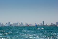 Sailboats at Long Beach Harbor. Colorful sailboats underway at Long Beach, Harbor Stock Images