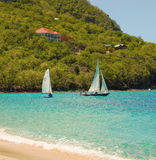 Sailboats at lower bay, bequia Royalty Free Stock Photo