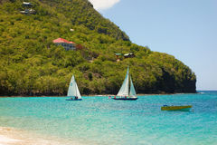 Sailboats at lower bay, bequia Stock Image