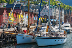 Sailboats lying at the quay. In Bergen stock image