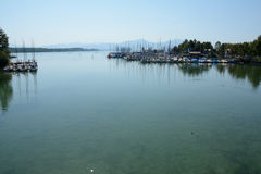 Sailboats in marina at Chiemsee lake in Germany Royalty Free Stock Image