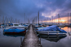 Sailboats Marina at Dawn Stock Photo
