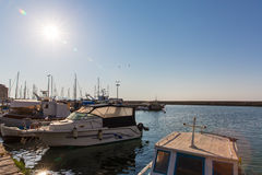 Sailboats at marina dock and bay in Chania/Crete Stock Photography