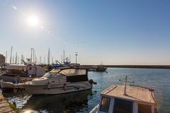Sailboats at marina dock and bay in Chania/Crete Stock Photography