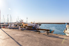 Sailboats at marina dock and bay in Chania/Crete Royalty Free Stock Photo