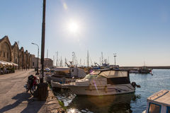 Sailboats at marina dock and bay in Chania/Crete Stock Photo
