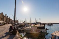 Sailboats at marina dock and bay in Chania/Crete Stock Photo