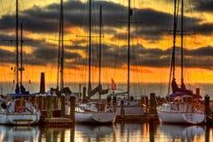 Sailboats At Marina Dock. Sailboats docked at Texas Gulf Coast marina photographed at sunrise Royalty Free Stock Image