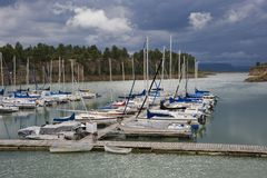 Sailboats at Marina in evening light Stock Image