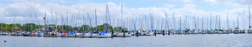 Sailboats marina panorama Royalty Free Stock Image