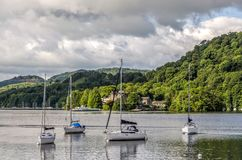 Sailboats in marina, Windermere at Bowness Royalty Free Stock Photos