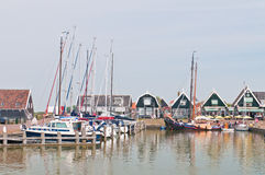 Sailboats in Marken dock Stock Image