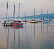Sailboats and Masts Reflection Stock Images