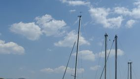 Sailboat masts, seagulls and cloudy sky - Ohrid Macedonia. Sailboats masts without sails anchored in the port of Ohrid. They sway blown by the wind. Seagulls fly stock footage