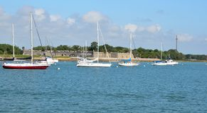 Sailboats on Matanzas river. Scenic view of sailboats moored on Matanzas river with Castillo de San Marcos in background, St. Augustine, Florida, U.S.A stock photo