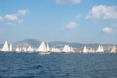 Sailboats in the Mediterranean Sea. Turkish Sailboat competition in the Mediterranean Sea Stock Photography