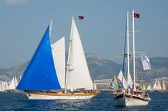 Sailboats in the Mediterranean Sea. Turkish Sailboat competition in the Mediterranean Sea Stock Images