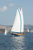 Sailboats in the Mediterranean Sea. Turkish Sailboat competition in the Mediterranean Sea Royalty Free Stock Images