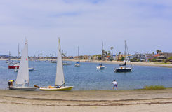Sailboats, Mission Bay, San Diego, California Royalty Free Stock Images