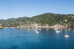 Sailboats Moored in Blue Water of St Thomas Bay Royalty Free Stock Photo