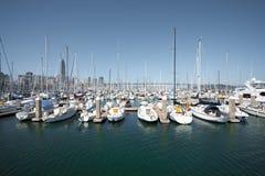 Sailboats Moored In Harbor Horizontal Royalty Free Stock Image
