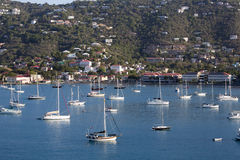 Sailboats Moored in Harbor Stock Photography