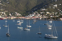 Sailboats Moored in Harbor. Numerous sailboats are moored in harbor at St Thomas, US Virgin Islands Stock Photography