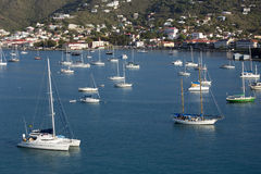 Sailboats Moored in Harbor. Numerous sailboats are moored in harbor at St Thomas, US Virgin Islands Royalty Free Stock Photos